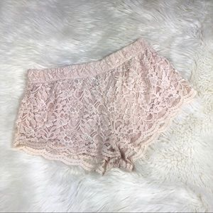 Forever 21 lace shorts size L cream beige stretchy